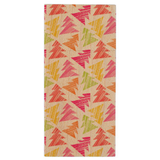 Colourful Sketchy Christmas Trees Pattern Wood USB Flash Drive