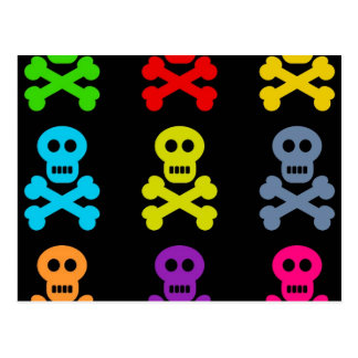 Colourful Skulls Postcard