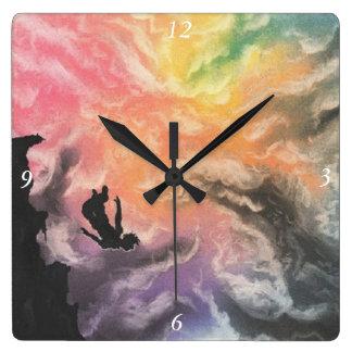 colourful sky dive square wall clock