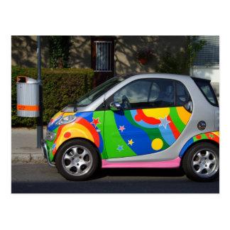 Colourful Smart Car Postcard