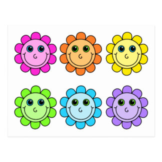 Colourful Smiley Face Flowers Postcard