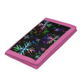 Colourful snowflakes Pink TriFold Nylon Wallet