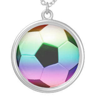 Colourful Soccer Ball Silver Plated Necklace