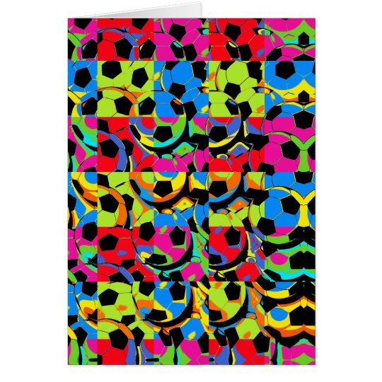 Colourful Soccer Balls Abstract Card