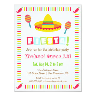 Colourful Sombrero Mexican Fiesta Kids Party Card