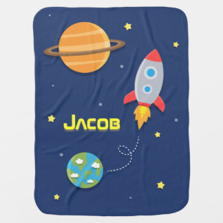 Colourful, Space Rocket Ship, For Baby Boys Swaddle Blanket