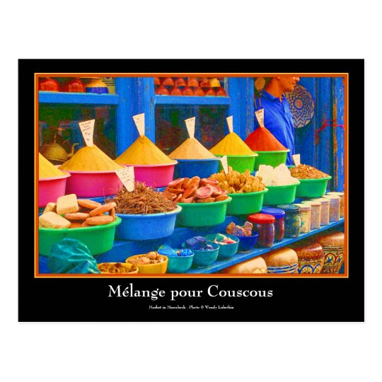 Colourful Spice Market in Marrakesh Morocco Postcard