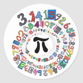 Colourful sPiral of Pi Calculated Round Sticker