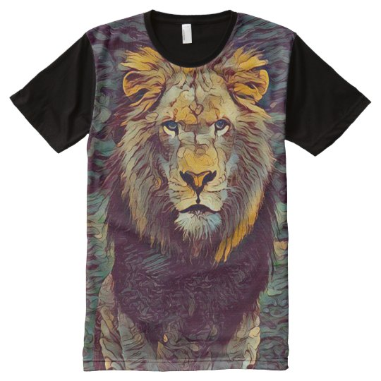 Colourful Spirit Lion Ghost Graphic Art All-Over-Print T-Shirt