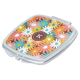 Colourful spring daisies monogram name mirror for makeup