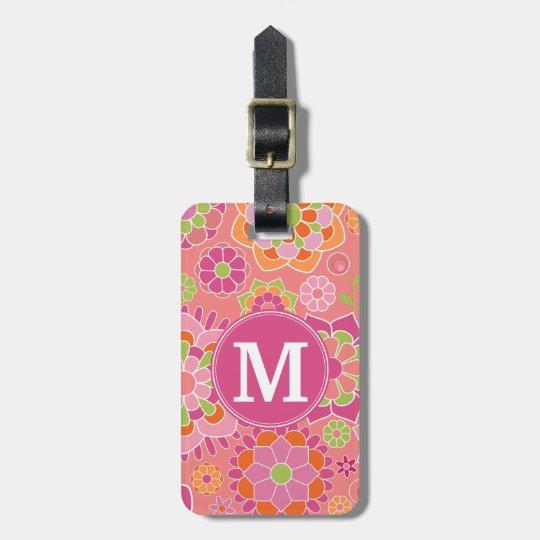 Colourful Spring Floral Pattern Custom Monogram Bag Tag