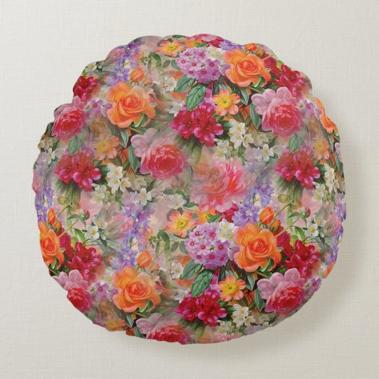 Colourful Spring Flowers Round Pillow