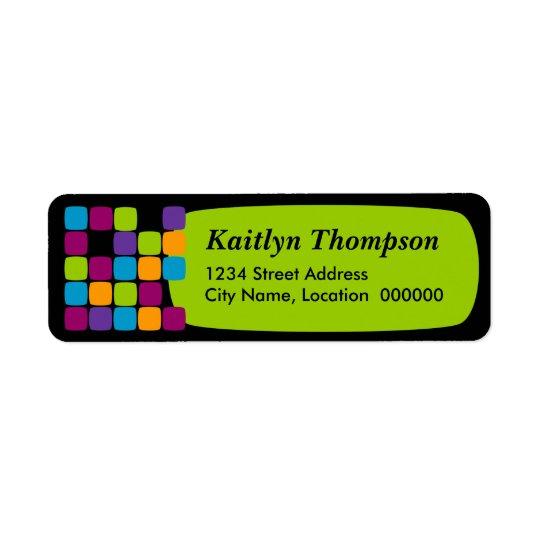 Colourful Squares Green Return Address Labels