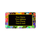 Colourful Stained Glass Rainbow Abstract Mosaic Label