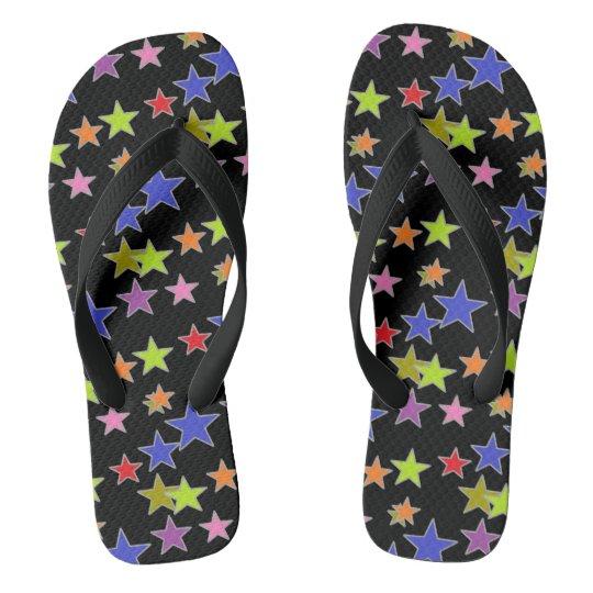 Colourful Star Pattern on Black Fun Flip Flops
