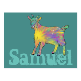 Colourful Starburst Art Goat Design Add Your Name Postcard