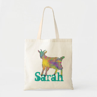 Colourful Starburst Art Goat Design Add Your Name Tote Bag