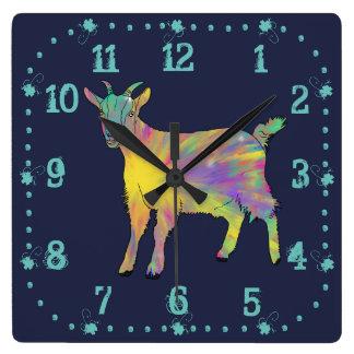 Colourful Starburst Art Goat Funny Animal design Square Wall Clock