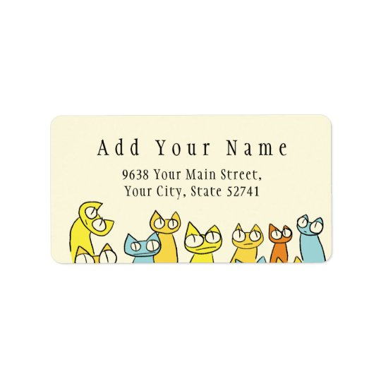 Colourful Staring lot Cats Label