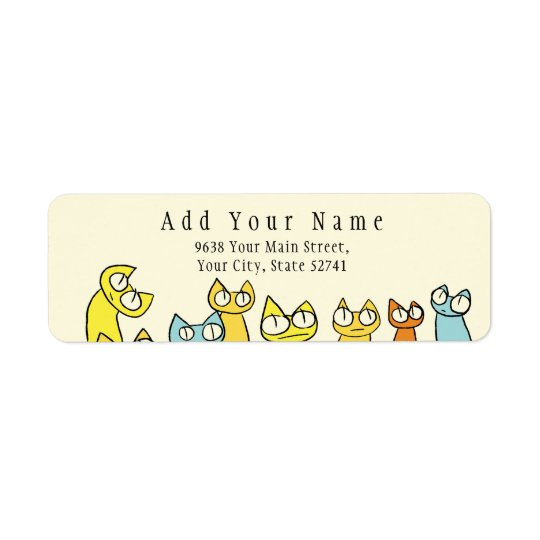 Colourful Staring lot Cats Return Address Label