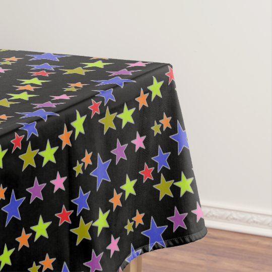 Colourful Stars on Black Fun Tablecloth