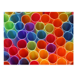 Colourful Straws Postcard