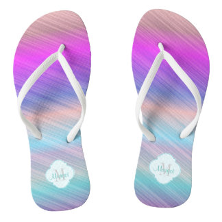 Colourful stripe beach flip flops