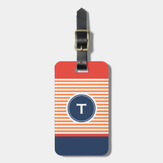 colourful stripe with monogram luggage tag