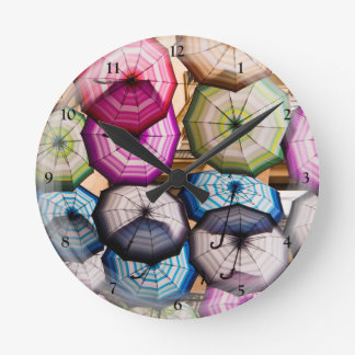 Colourful, Striped Umbrellas Round Clock