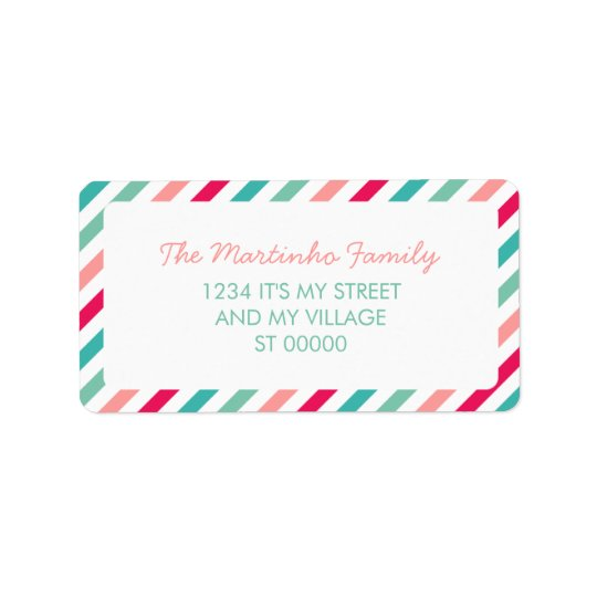 Colourful Stripes Aqua Blue Pink Diagonal Stripes Label