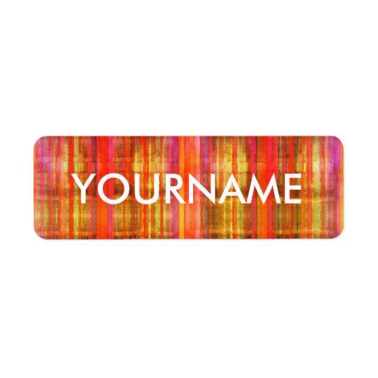 Colourful Stripes Art Pattern Name Label