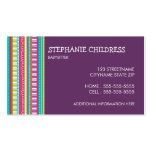 Colourful Stripes Babysitting Business Card