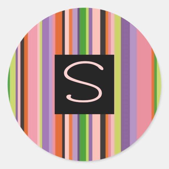 Colourful Stripes Letter S Classic Round Sticker