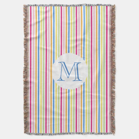 Colourful Stripes Monogram Throw Blanket