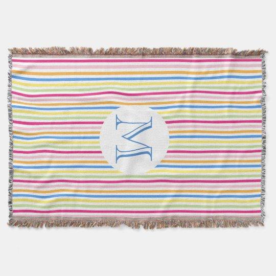 Colourful Stripes Monogram Throw Blanket