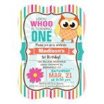 "Colourful Stripes Owl Birthday Party 5"" X 7"" Invitation Card"