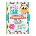 Colourful Stripes Owl Birthday Party Postcard