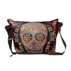 Colourful Sugar Skull Art Messenger Bag