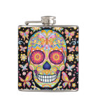 Colourful Sugar Skull Flask - Day of the Dead Art