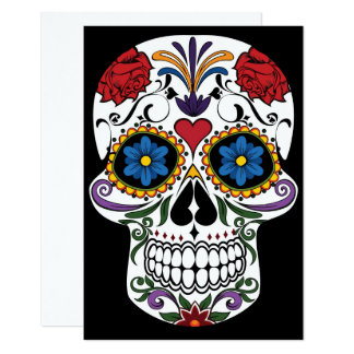 Colourful Sugar Skull Invitation Card