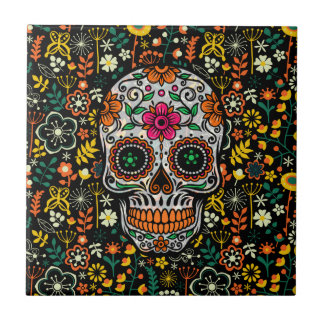 Colourful sugar Skull With Retro Flowers Tile