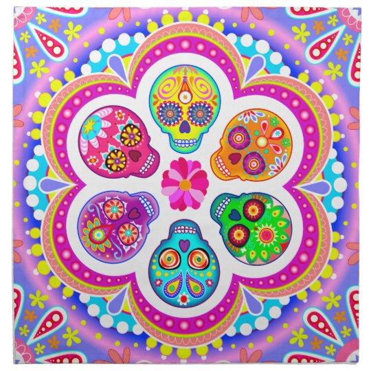 Colourful Sugar Skulls Cloth Napkins Set of 4