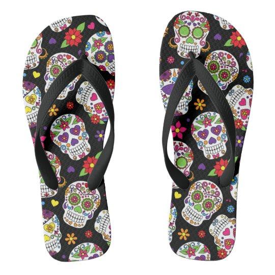 Colourful Sugar Skulls Flip Flops