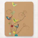 Colourful Summer Bird and Swirls Mousepad