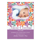 Colourful Summer Flowers Photo Birth Anouncement Card
