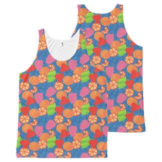 Colourful Summer Fruits Pattern on Deep Blue