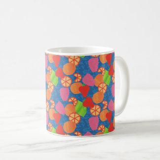 Colourful Summer Fruits Pattern on Deep Blue Coffee Mug