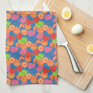 Colourful Summer Fruits Pattern on Deep Blue Kitchen Towel