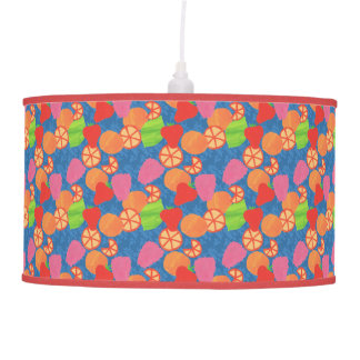 Colourful Summer Fruits Pattern on Deep Blue Pendant Lamp