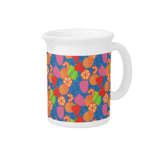 Colourful Summer Fruits Pattern on Deep Blue Pitcher